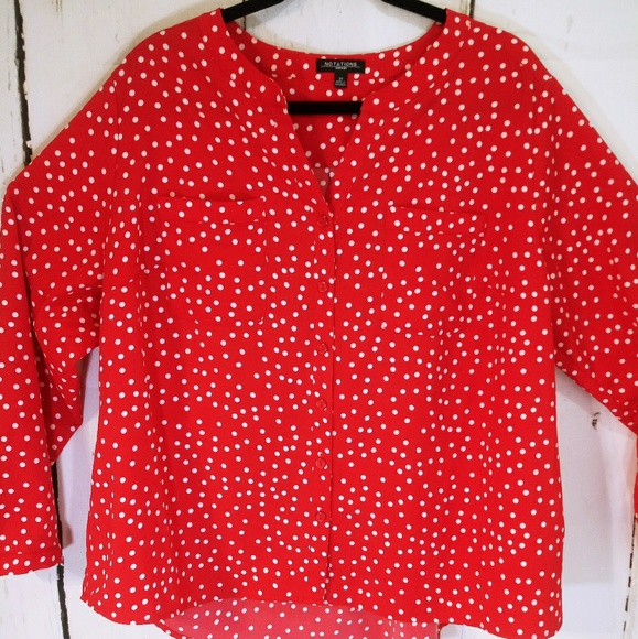 cc5a18a2958def Notations Tops | Plus Polka Dot Red White Button Front | Poshmark